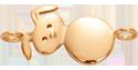 Lapin plaqué or au poignet 2,3 cm
