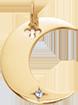 Pendentif Lune plaqué or de 2 cm